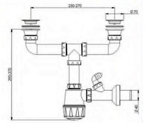 Сифон для мойки двойной с отводом для стиральной машины Nova-Plastik 1164, фото 2