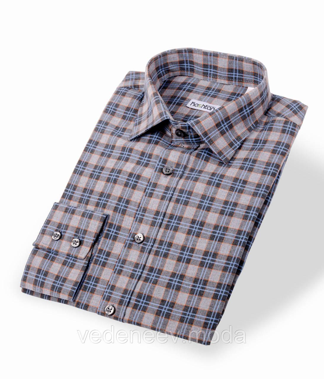 Мужская рубашка в  клетку, серо-голубая