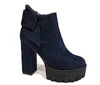Женские замшевые ботинки. Синие