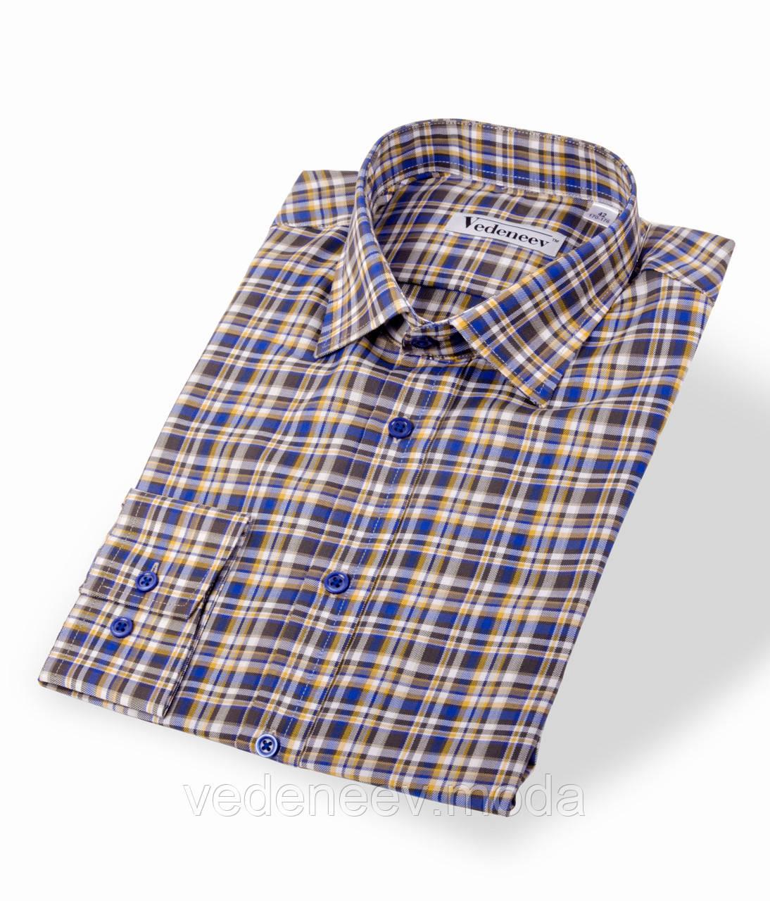 Мужская рубашка в серо-бежевую клетку
