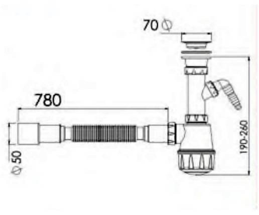 Сифон для мойки с отводом для стиральной машины Nova-Plastik 1061, фото 2
