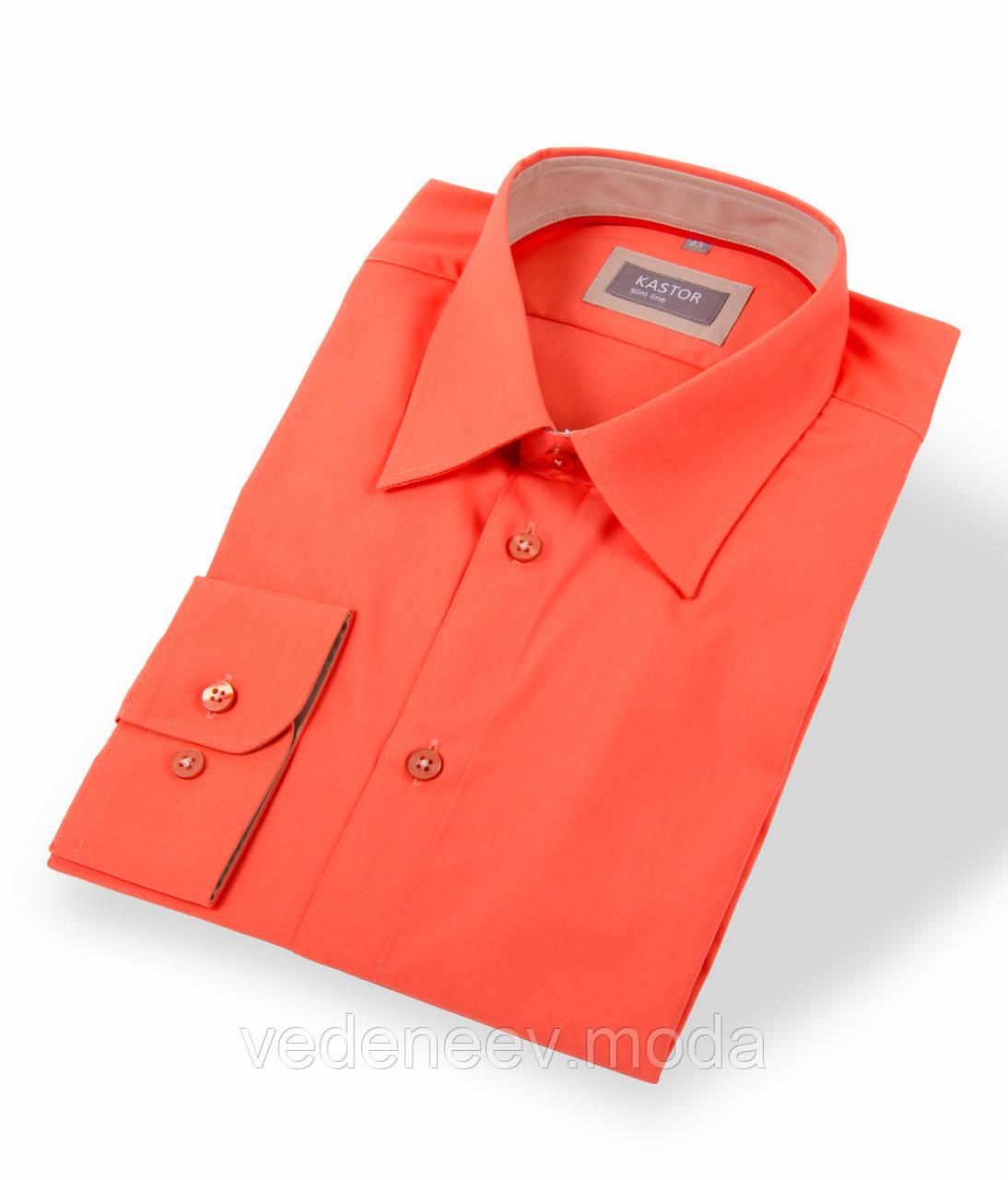 Оранжевая приталенная рубашка