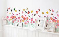 "Наклейка на стену ""цветочки с бабочками"" композиция 1м67*38см (лист 60*90см)"