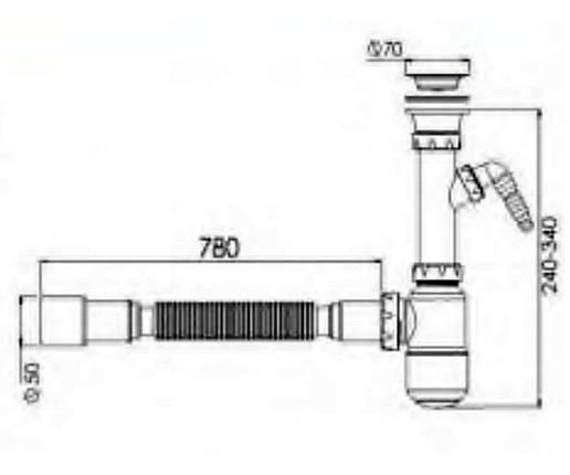 Сифон для умывальника с отводом для стиральной машины Nova-Plastik 1054, фото 2