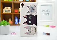 Силиконовый бампер чехол для Sony Xperia Z2 D6503 с рисунком Коты