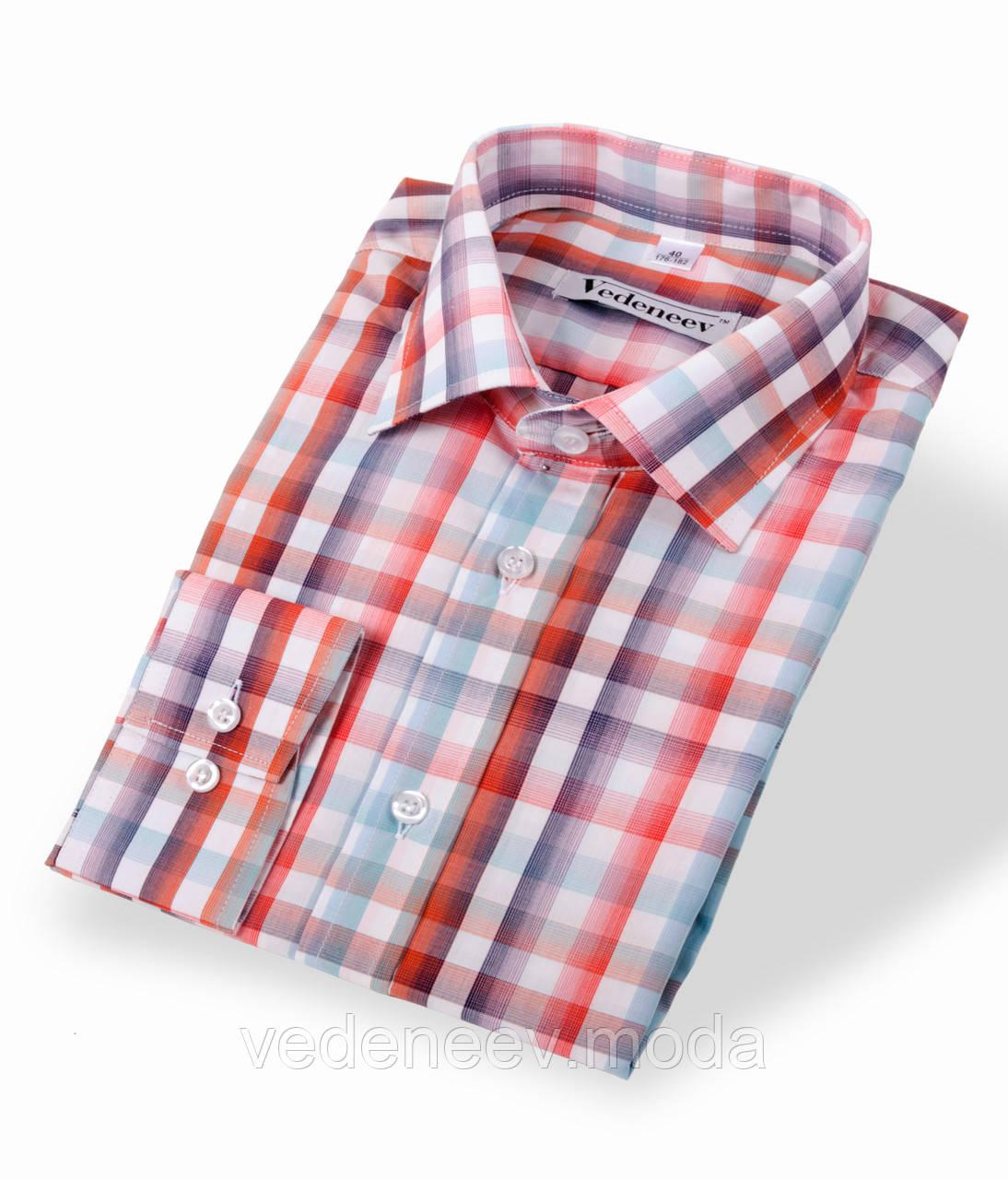 Рубашка в яркую оранжевую клетку