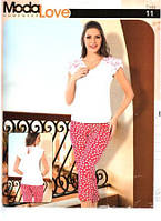 Пижама женская капри + футболка с бантиком на спине