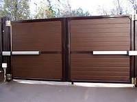 Ворота распашные металлические въездные