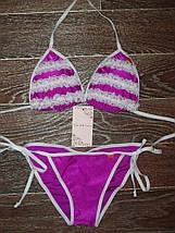 Фиолетовый купальник белыми с рюшами (3004 sk), фото 2