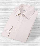 Светло-бежевая мужская рубашка в полоску