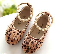 Туфли леопардовые с жемчужным браслетом р.28 (17 см)