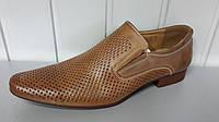 Мужские  кожаные летние коричневые туфли Tjtj.Польша