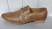 Кожаные летние коричневые  туфли Tjtj.Польша