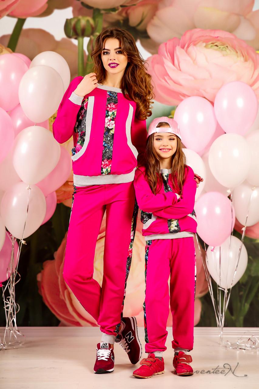 Модный детский спортивный костюм с цветочным принтом, для мамы и дочки, 116-134 размер, фото 1
