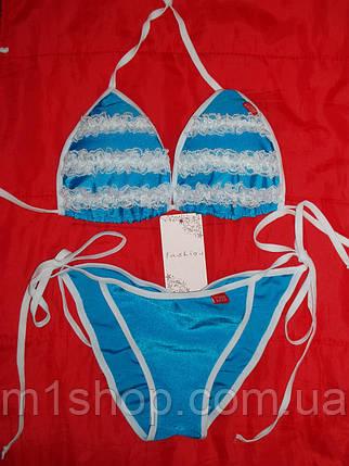 Голубой купальник с белыми рюшами (3004 sk), фото 2