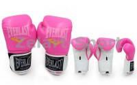 Перчатки боксерские PU EVERLAST (р-р 8-12oz розовый-белый)