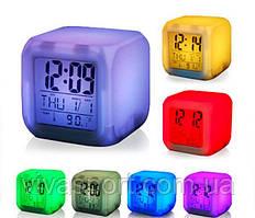 Оригинальные светящиеся часы будильник термометр ночник в одном корпусе