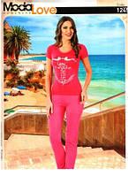 Малиновая женская пижама комплект для дома