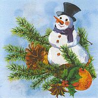 Салфетка декупажная Снеговик, еловая ветка и апельсин 5680