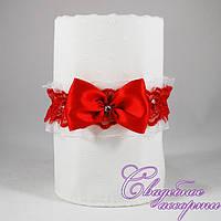 Свадебная подвязка красного цвета