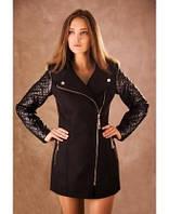 Пальто стильное чёрное , рукав стёганая плащёвка Арт-5003/46