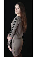 Женский костюм с юбкой коричневый