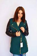 Пальто стильное зелёное, рукав стёганая плащёвка Арт-5003/46