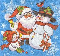 Салфетка декупажная Снеговики и дед Мороз 5689