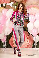 Комфортный стильный спортивный костюм с цветочным принтом, ждя мамы и дочки, 44-50 размеры, фото 1