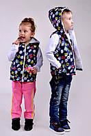 Жилетка тёмно синяя мальчик+девочка с рисунком Арт-5009/44