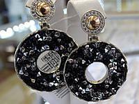 Серьги серебряные с золотыми вставками и камнями Сваровски