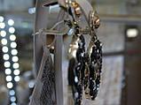 Серьги серебряные с золотыми вставками и камнями Сваровски, фото 2