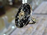 Серьги серебряные с золотыми вставками и камнями Сваровски, фото 3
