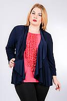 Трикотажная блуза-туника с шифоновой отделкой 52-62 размера, фото 1
