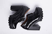 Туфли из натурального черного лака рептилия №310-6, фото 1