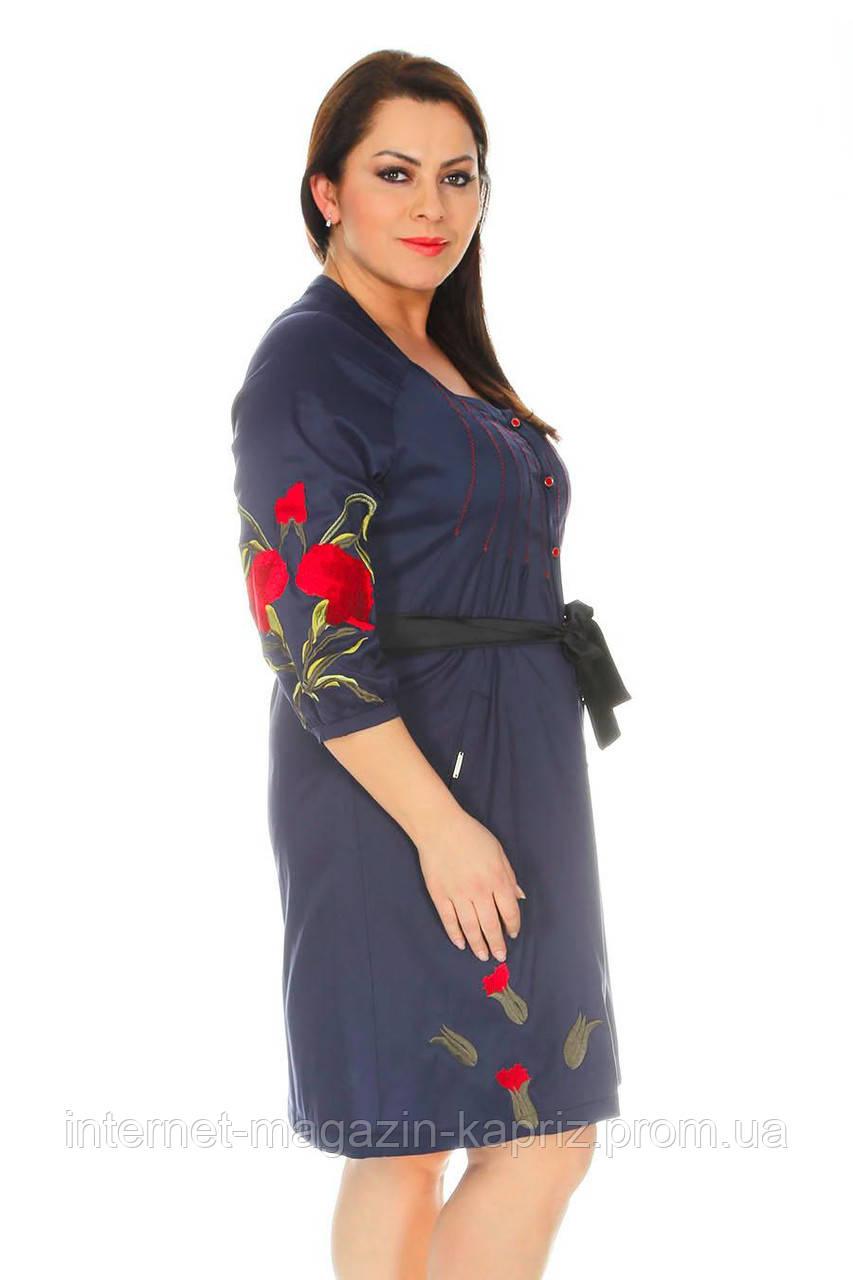 a5313792d53 Платье-туника синего цвета с вышивкой маками Каприз Турция  продажа ...