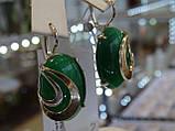 Серьги серебряные с золотыми вставками, фото 2