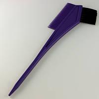 Кисточка для покраски фиолетовая с расческой, фото 1
