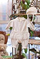 Комплект для девочки на выписку и крещение (комбинезон с юбкой + чепчик)