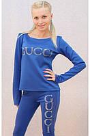 Женский брючный костюм со стразами gucci синий, фото 1