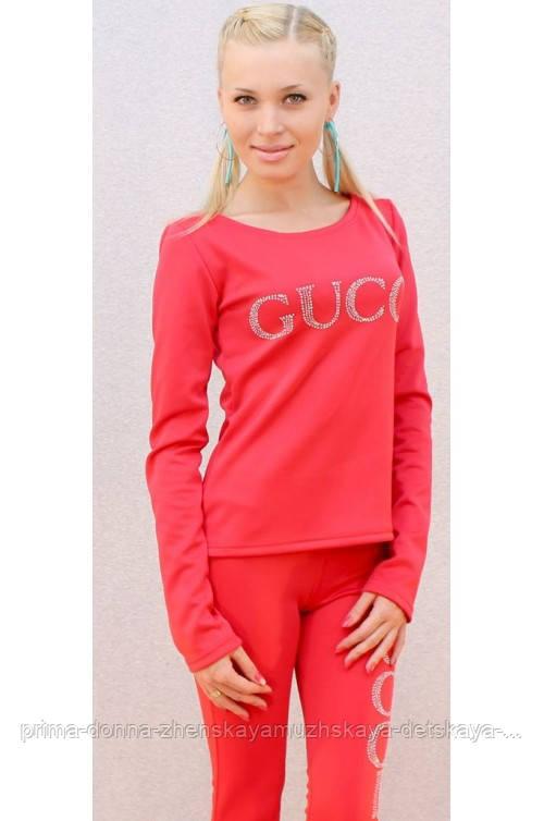 Женский брючный костюм  со стразами gucci коралл