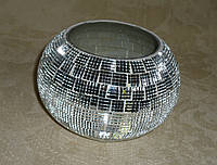 Подсвечник серебристый зеркальный с декором 9см