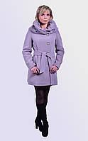 Мягкое утепленное пальто из высококачественного материала,  красивый воротник, широкий пояс, 44-52 размер
