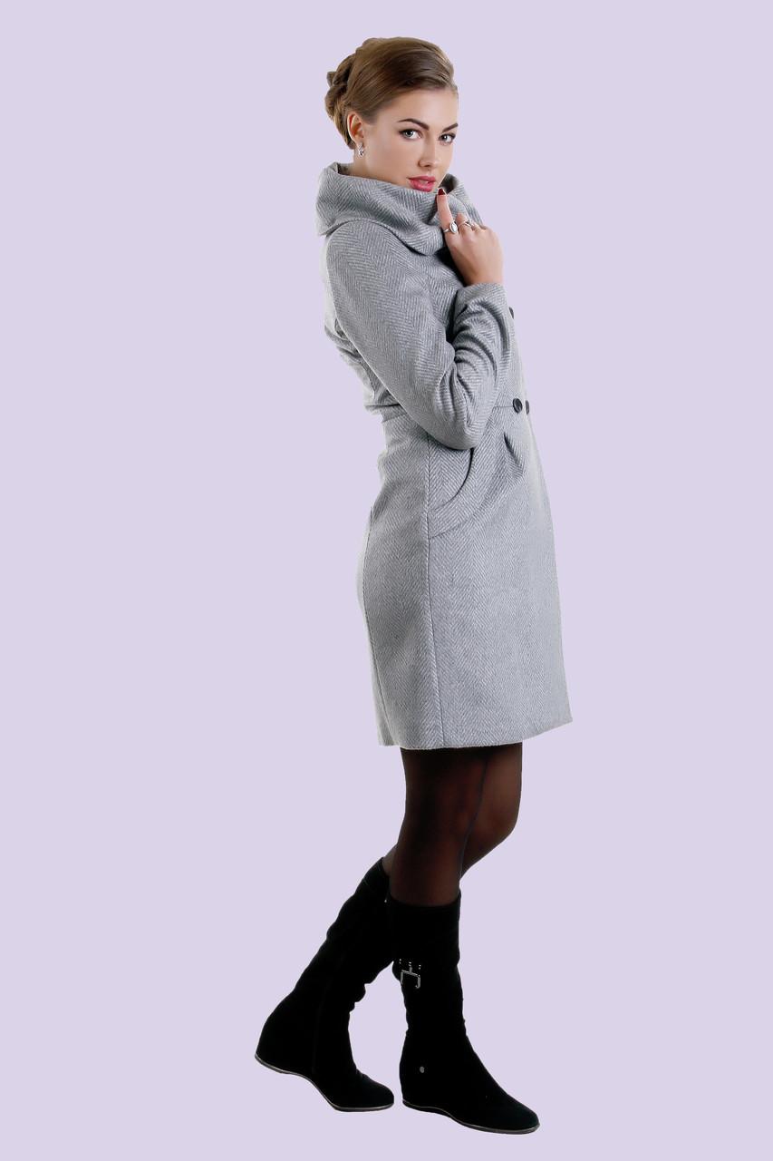 Очень женственная модель из дорогой кашемировой ткани с ассиметричным воротником, батал, 46-54 размер, фото 1