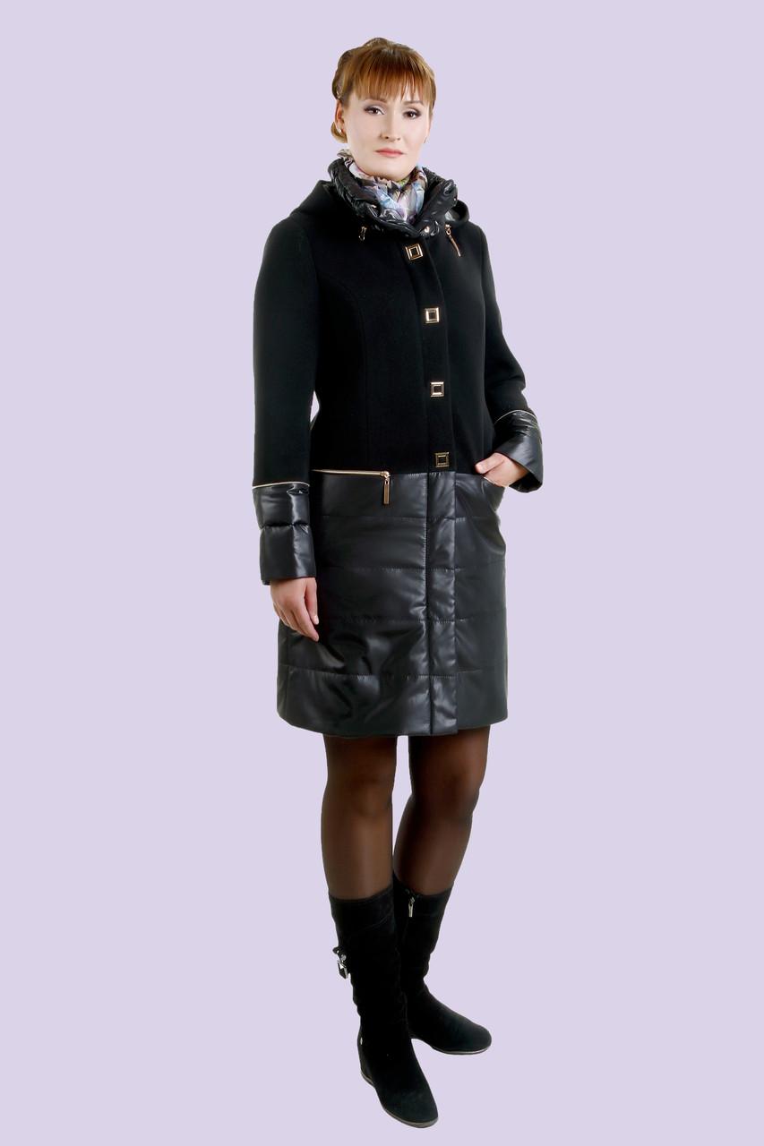 Потрясающее пальто выполненно из двух различных материалов, шикарный объемный воротник, эко кожа 44-52 размер, фото 1