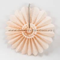 Подвесной веер, персиковый, 30 см - бумажный декор-розетка