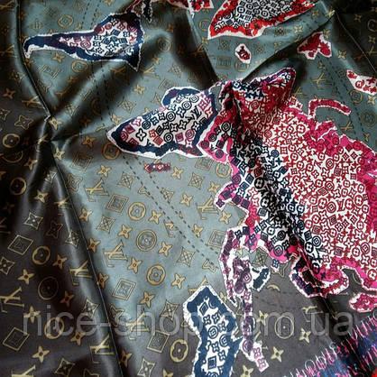 Платок Louis Vuitton шелк, карта мира, фото 3
