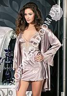Шелковый комплект халат и ночная сорочка (пеньюар) Angel Story 8550