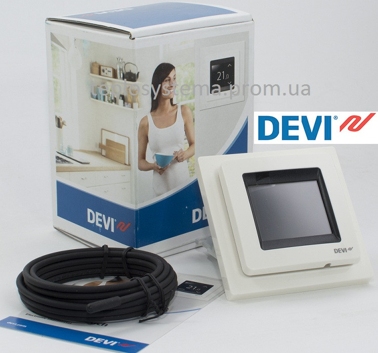 Программируемый сенсорный терморегулятор Devireg™ Touch (белый) Дания
