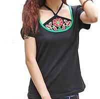 Женская черная футболка Оригинальная